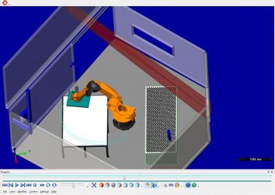 Der Arbeitsraum des Roboters im Simulationsprogramm