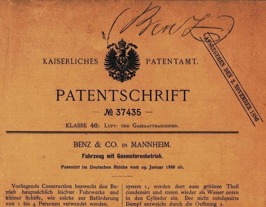 Historisches Patent von Carl Benz